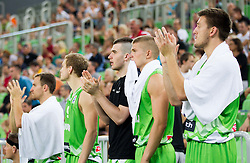Marko Pajic, Edo Muric, Matej Krusic during basketball match between National teams of Slovenia and Croatia in day 2 of Adecco cup, on August 4, 2012 in Arena Stozice, Ljubljana, Slovenia. (Photo by Vid Ponikvar / Sportida.com)