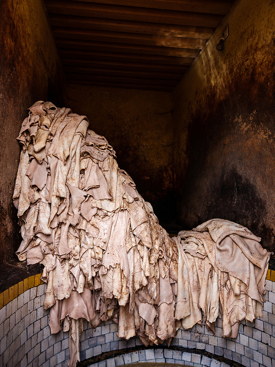 FEZ, MOROCCO - CIRCA APRIL 2017:  Pile of leather being dye at the famous tannery in Fez
