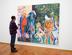 Man looking at painting Uwe, Take the Long and Winding Road by Daniel Richter, at the Gemeentemuseum in The Hague, Den Haag,  Netherlands