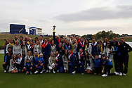 The victorious European Team after beating USA with the trophy after the winning presentation with wives girlfriends and family<br /> <br /> Captain Thomas Bjorn<br /> Francesco Molinari&nbsp;<br /> Tommy Fleetwood&nbsp;<br /> Tyrrell Hatton&nbsp;&nbsp;&nbsp;&nbsp;&nbsp;&nbsp;&nbsp;&nbsp;&nbsp;&nbsp;&nbsp;&nbsp;&nbsp;&nbsp;&nbsp;&nbsp;&nbsp; <br /> Paul Casey&nbsp;&nbsp;&nbsp;&nbsp;&nbsp;&nbsp;&nbsp;&nbsp;&nbsp;&nbsp;&nbsp;&nbsp;&nbsp;&nbsp;&nbsp;&nbsp;&nbsp;&nbsp;&nbsp; <br /> Thorbjorn Olesen&nbsp;&nbsp;&nbsp;&nbsp;&nbsp;&nbsp;&nbsp;&nbsp;&nbsp;&nbsp;&nbsp;<br /> Rory McIlroy&nbsp;&nbsp;&nbsp;&nbsp;&nbsp;<br /> Jon Rahm&nbsp;&nbsp;&nbsp;&nbsp;&nbsp;&nbsp;&nbsp;&nbsp;&nbsp;&nbsp;&nbsp;&nbsp;&nbsp;&nbsp;&nbsp;&nbsp;&nbsp;&nbsp;&nbsp;&nbsp;&nbsp;&nbsp;&nbsp;&nbsp; <br /> Justin Rose&nbsp;&nbsp;&nbsp;<br /> Alex Noren<br /> Henrik Stenson<br /> Sergio Garc&iacute;a<br /> Ian Poulter<br /> <br /> Sunday singles<br /> The 42nd Ryder Cup Matches 2018 on the Albatros Course of Le Golf National, Paris, France. 30th September 2018
