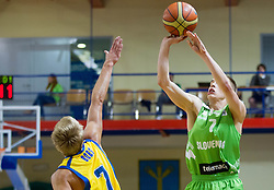 Tobias Borg of Sweden vs Klemen Prepelic of Slovenia during basketball match between National teams of Sweden and Slovenia in First Round of U20 Men European Championship Slovenia 2012, on July 13, 2012 in Domzale, Slovenia. (Photo by Vid Ponikvar / Sportida.com)