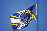SAN DIEGO - SEPTEMBER 1:  A San Diego Chargers flag flies above the stadium during a preseason game against the San Francisco 49ers on September 1, 2005 at Qualcomm Stadium in San Diego, California. The Chargers defeated the 49ers 28-24. ©Paul Anthony Spinelli