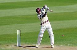 Somerset's Peter Trego cuts the ball off the bowling of Durham's John Hastings.  - Photo mandatory by-line: Harry Trump/JMP - Mobile: 07966 386802 - 14/04/15 - SPORT - CRICKET - LVCC County Championship - Day 3 - Somerset v Durham - The County Ground, Taunton, England.