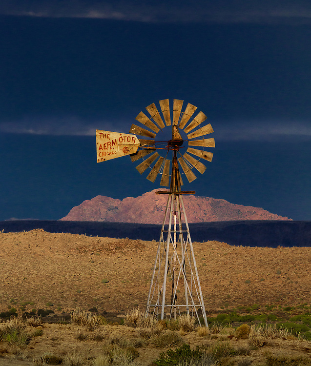 Operating windmill in the Mid Hills of Mojave National Preserve