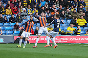 Luton Town's Oliver Lee celebrates putting his team 2-1 ahead just before half time during the Sky Bet League 2 match between Oxford United and Luton Town at the Kassam Stadium, Oxford, England on 16 April 2016. Photo by Shane Healey.