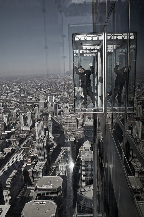 The Glass Box... say no more!!! just don&rsquo;t look doooooowwwwnnnn! This photo was taken from one of the 3 glass boxes hanging on the side of the 103rd floor of the Sears/Willis Tower in Chicago. The tallest building in the western hemisphere and the third tallest<br />