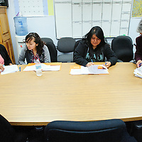 013114  Adron Gardner/Independent<br /> <br /> CouncilwomanEmily Birdena Sanchez, left, students Kendra Nastacio, Emily Eriacho and Governor's Chief of Staff Carmelita Sanchez, right, meet  during Jobs for America&rsquo;s Job Shadowing Day in Zuni Monday.