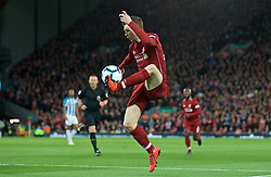 LIVERPOOL, ENGLAND - Friday, April 26, 2019: Liverpool's Andy Robertson during the FA Premier League match between Liverpool FC and Huddersfield Town AFC at Anfield. (Pic by David Rawcliffe/Propaganda)