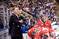 KELOWNA, CANADA, DECEMBER 27: Don Nachbaur, head coach and Jon Klemm, assistant coach of the Spokane Chiefs stand on the bench at the Kelowna Rockets on December 7, 2011 at Prospera Place in Kelowna, British Columbia, Canada (Photo by Marissa Baecker/Getty Images) *** Local Caption ***