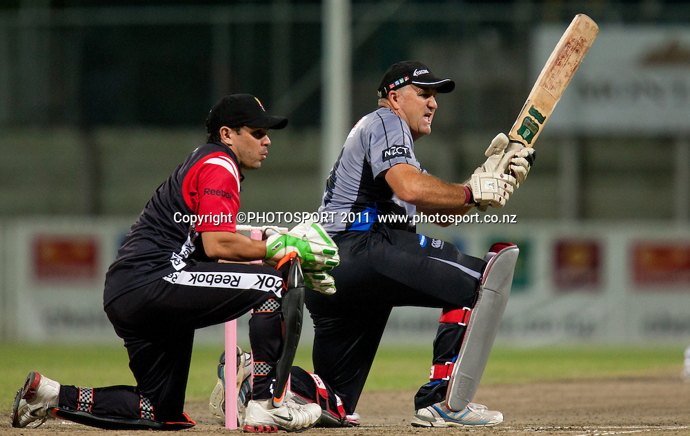 Mark Greatbatch bats during the Titans International Twenty20 Cricket, Samsung NZCPA Masters XI v Australia, Seddon Park, Hamilton, New Zealand, Thursday 24 February 2011. Photo: Stephen Barker/PHOTOSPORT