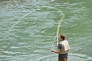 Matthew Sansterre from Washington state enjoys late-summer fly fishing in the Crystal River near Redstone, Colorado.