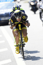 July 14, 2018 - Amiens Metropole, FRANCE - French Fabien Grellier of Direct energie pictured in action during the eighth stage of the 105th edition of the Tour de France cycling race, from Dreux to Amiens Metropole (181 km), in France, Saturday 14 July 2018. This year's Tour de France takes place from July 7th to July 29th. BELGA PHOTO YORICK JANSENS (Credit Image: © Yorick Jansens/Belga via ZUMA Press)