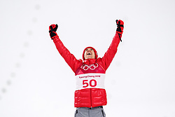 February 17, 2018 - Pyeongchang, SOUTH KOREA - 180217 Kamil Stoch of Poland (gold) celebrate at the podium after the men's large hill individual final during day eight of the 2018 Winter Olympics on February 17, 2018 in Pyeongchang..Photo: Carl Sandin / BILDBYRÃ…N / kod CS / 57999_303 (Credit Image: © Carl Sandin/Bildbyran via ZUMA Press)
