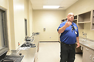 Grid Incident Manager Walter Grunder speaks about the facility in the medical unit during a tour through the newest prison in Pennsylvania Friday, September 01, 2017 at State Correction Institution Phoenix in Skippack, Pennsylvania. The facility is inching closer to opening, two years late, to replace Graterford Prison at a cost of $400 million. (Photo by William Thomas Cain/CAIN IMAGES)