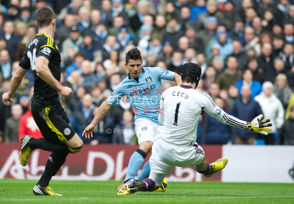 MANCHESTER, ENGLAND - Sunday, February 24, 2013: Chelsea's goalkeeper Petr Cech twarts Manchester City's Sergio Aguero during the Premiership match at the City of Manchester Stadium. (Pic by David Rawcliffe/Propaganda)