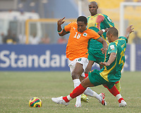 Photo: Steve Bond/Richard Lane Photography.<br />Ivory Coast v Mali. Africa Cup of Nations. 29/01/2008. Abdul Kader Keita (L) tries to avoid the incoming tackle of Cedric Kante (R)