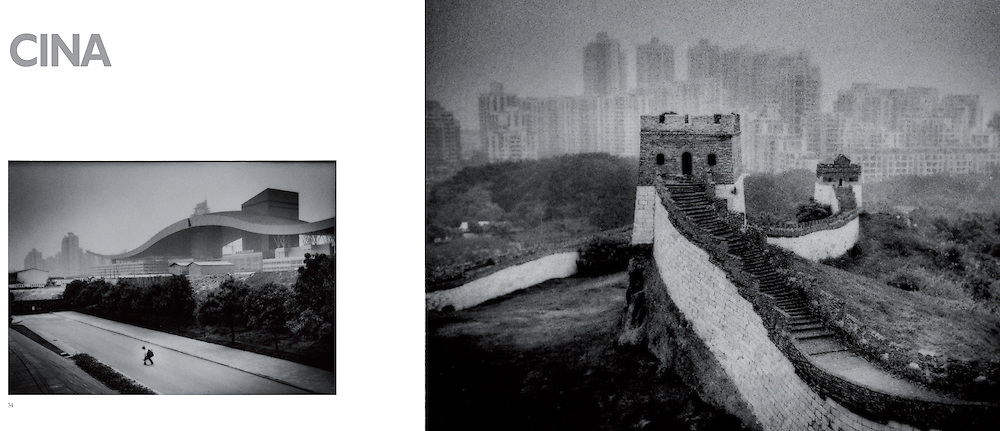 L:  Migrant man struggles with heavy duffle bag past massive gull-winged structure, Shenzhen, China...R:  The Great Wall replica, Splendid China theme park, Shenzhen, China.