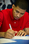 High school basketball star Keith Frazier signs to play for SMU at Kimball High School in Dallas on Wednesday, April 17, 2013. (Cooper Neill/The Dallas Morning News)