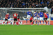 Cardiff city's Peter Whittingham (7) goes close to scoring with a free-kick. NPower championship, Cardiff city v Ipswich Town at the Cardiff city Stadium in Cardiff, South Wales on Saturday 12th Jan 2013. pic by Andrew Orchard, Andrew Orchard sports photography,