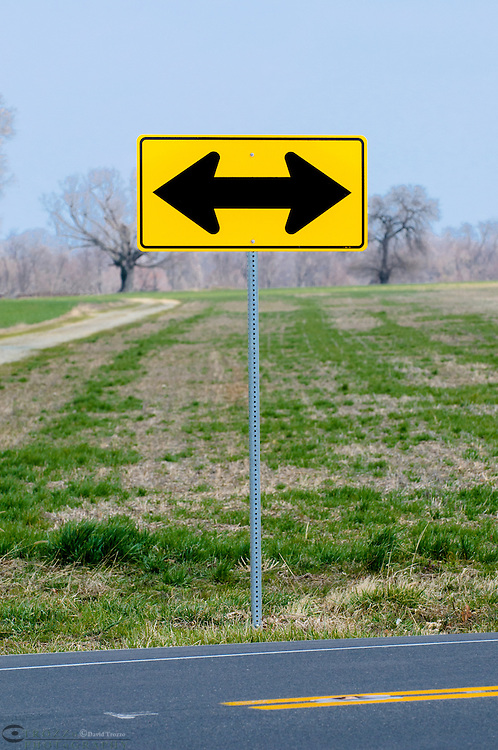 Directional traffic sign at road's end near Chestertown, Maryland, USA.