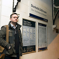 John Argo pictured at ScotRail's Dunkeld & Birnam railway station waiting for the 07.39 train to Edinburgh…01.12.16<br />Picture by Graeme Hart.<br />Copyright Perthshire Picture Agency<br />Tel: 01738 623350  Mobile: 07990 594431