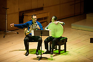 GLASGOW, SCOTLAND - MAY 06:  Saar Berger and Rumi Ogawa of Ensemble Modern perform at Royal Conservatoire of Scotland on May 6, 2016 in Glasgow, Scotland.  (Photo by Ross Gilmore/Redferns)