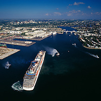 Aerial view of Carnival Cruise Line Ship entering Port Everglades, Fort Lauderdale, FL