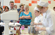 Guests of the schools open house watch the competition as students compete in the final round of the Culinary Arts Institute of Montgomery County Community College Student Iron Chef Competition during Open House Saturday April 16, 2016 at Culinary Arts Institute in Towamencin, Pennsylvania. (Photo by William Thomas Cain)