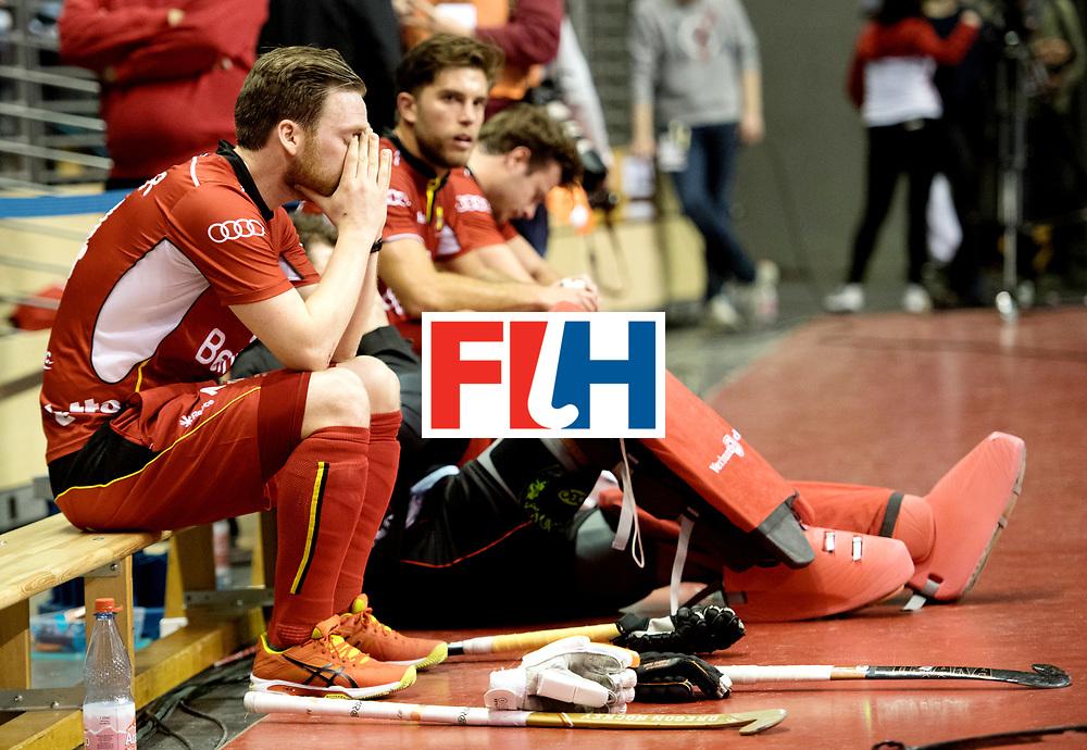 BERLIN - Indoor Hockey World Cup<br /> Quarterfinal 4: Australia - Belgium<br /> foto: Belgium dissapointed.<br /> WORLDSPORTPICS COPYRIGHT FRANK UIJLENBROEK