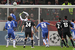 23.11.2011, BayArena, Leverkusen, Germany, UEFA CL, Gruppe E, Bayer 04 Leverkusen (GER) vs Chelsea FC (ENG), im Bild Ball geht an die Latte vom Tor von Petr Cech (Torwart Chelsea). Ömer Toprak (Leverkusen #21) und Michael Ballack (Leverkusen #13) schauen hinterher // during the football match of UEFA Champions league, group E, between Bayer Leverkusen (GER) and FC Chelsea (ENG) at BayArena, Leverkusen, Germany on 2011/11/23.EXPA Pictures © 2011, PhotoCredit: EXPA/ nph/ Mueller..***** ATTENTION - OUT OF GER, CRO *****
