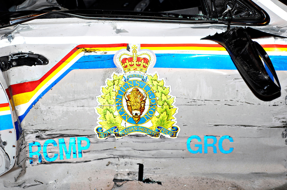 KELOWNA, BC- 06/01/10 - Passenger door of an RCMP cruiser after it was involved in a collision in Kelowna, British Columbia on January 6, 2010. Photo by Daniel Hayduk