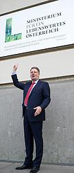 02.04.2014, BMLFUW, Wien, AUT, Bundesregierung, Pressekonferenz zum Thema: Politisches Grundsatzprogramm und neuer Ressortauftritt, im Bild Bundesminister fuer Land- und Forstwirtschaft, Umwelt und Wasserwirtschaft Andrae Rupprechter (OeVP) // Minister of Agriculture Andrae Rupprechter (OeVP) during press conference about new public image of Ministry of Agriculture at BMLFUW in Vienna, Austria on 2014/04/02, EXPA Pictures © 2014, PhotoCredit: EXPA/ Michael Gruber