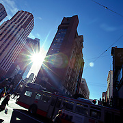Sunshine on Market and Kearny Streets, Union Square area of San Francisco, CA.