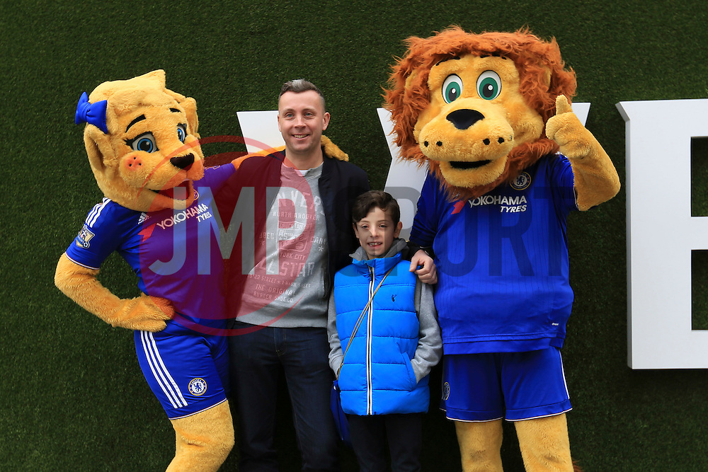 Chelsea fans have their photo taken with the Chelsea mascots - Mandatory byline: Jason Brown/JMP - 19/03/2016 - FOOTBALL - London, Stamford Bridge - Chelsea v West Ham United - Barclays Premier League