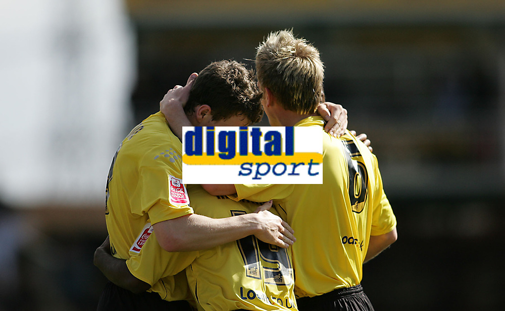 Photo: Lee Earle.<br /> Watford v Ipswich Town. Coca Cola Championship. 17/04/2006. Watford's Darius Henderson (L) is congratulated after scoring the opening goal.
