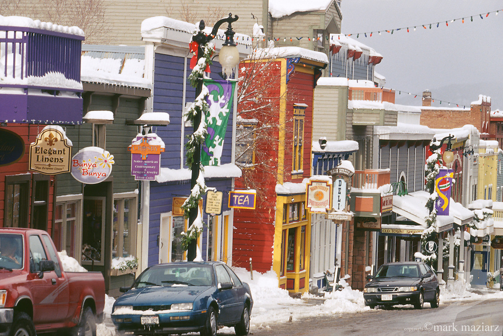 fresh snow in the afternoon on Main Street, Park City UT USA