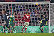 Middlesbrough midfielder Gaston Ramirez (21) scores a goal and celebrates to make the score 1-0 during the Premier League match between Middlesbrough and Hull City at the Riverside Stadium, Middlesbrough, England on 5 December 2016. Photo by Simon Davies.