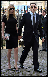 David Walliams with his wife Lara Stone arrives at Westminster Abbey for the service to celebrate the life and work of Sir David Frost, Westminster Abbey, London, United Kingdom. Thursday, 13th March 2014. Picture by Andrew Parsons / i-Images
