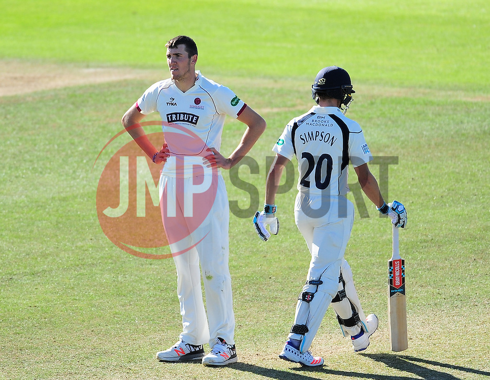 Craig Overton reacts to a chance off John Simpson.  - Mandatory by-line: Alex Davidson/JMP - 13/07/2016 - CRICKET - Cooper Associates County Ground - Taunton, United Kingdom - Somerset v Middlesex - Day 4 - Specsavers County Championship Division One