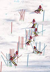 22.02.2018, Yongpyong Alpine Centre, Pyeongchang, KOR, PyeongChang 2018, Ski Alpin, Herren, Slalom, 2. Durchgang, im Bild Manuel Feller (AUT) (Mehrfachbelichtung) // Manuel Feller of Austria in action during the men's 2nd run Slalom race of the Pyeongchang 2018 Winter Olympic Games at the Yongpyong Alpine Centre in Pyeongchang, South Korea on 2018/02/22. EXPA Pictures © 2018, PhotoCredit: EXPA/ Johann Groder