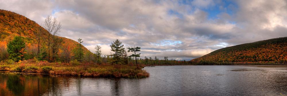 Autumn morning on Labrador Pond, New York, USA