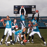 August 12, 2008 - Jacksonville, FL USA..X80919: NFL Football - Jacksonville Jaguars - Wide receivers..80 Jerry Porter , 18 Matt Jones, 86 Dennis Northcutt, .81 Mike Walker, 11 Reggie Williams , 84 Troy Williamson pose inside Alltel Stadium. ..Photo by Preston Mack..