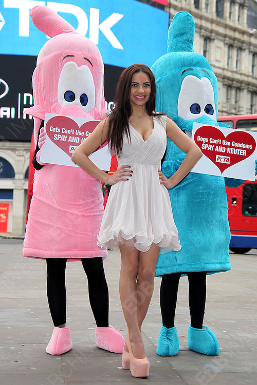 22.JANUARY.2013. LONDON<br /> <br /> LACEY BANGHARD AND TWO PEOPLE DRESSED AS CONDOMS PROMOTE THE STERILISATION OF CATS AND DOGS FOR PETA<br /> <br /> BYLINE: EDBIMAGEARCHIVE.CO.UK<br /> <br /> *THIS IMAGE IS STRICTLY FOR UK NEWSPAPERS AND MAGAZINES ONLY*<br /> *FOR WORLD WIDE SALES AND WEB USE PLEASE CONTACT EDBIMAGEARCHIVE - 0208 954 5968*