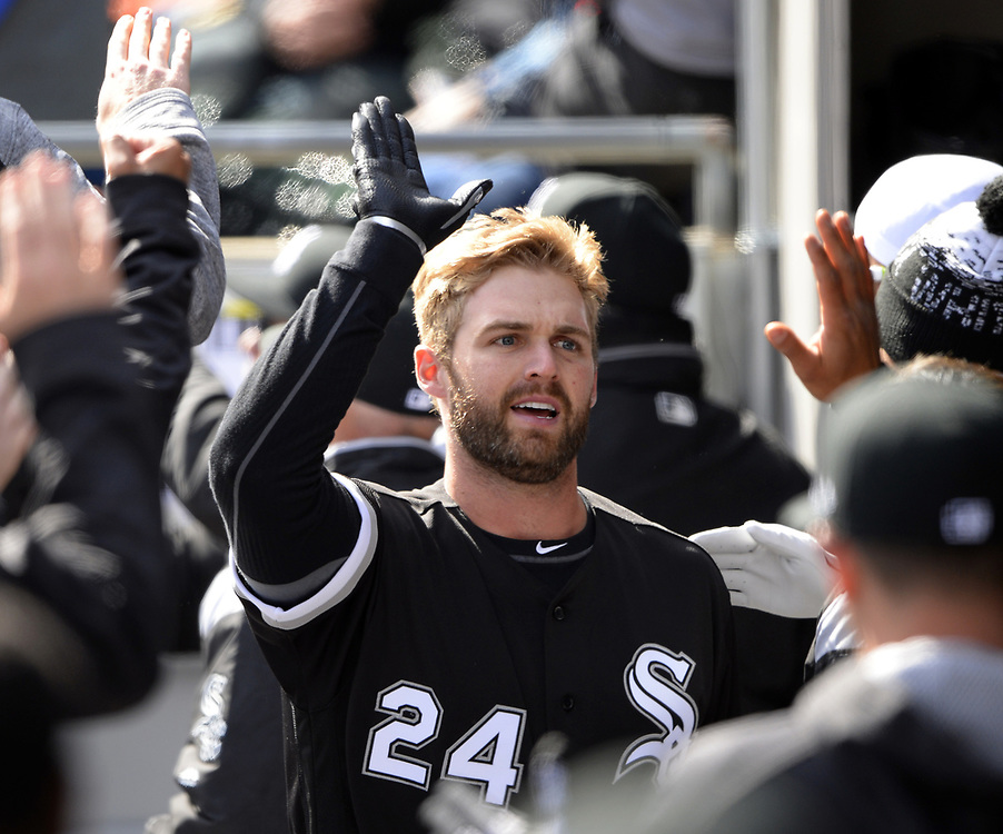 CHICAGO - APRIL 06:  Matt Davidson #24 of the Chicago White Sox celebrates with teammates after hitting a home run against the Detroit Tigers on April 6, 2017 at Guaranteed Rate Field in Chicago, Illinois.  The White Sox defeated the Tigers 11-2.  (Photo by Ron Vesely)   Subject:  Matt Davidson