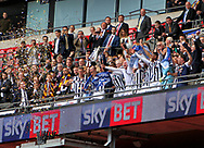 Millwall players celebrate the Sky Bet League 1 play-off final win at Wembley Stadium, London<br /> Picture by Glenn Sparkes/Focus Images Ltd 07939664067<br /> 20/05/2017