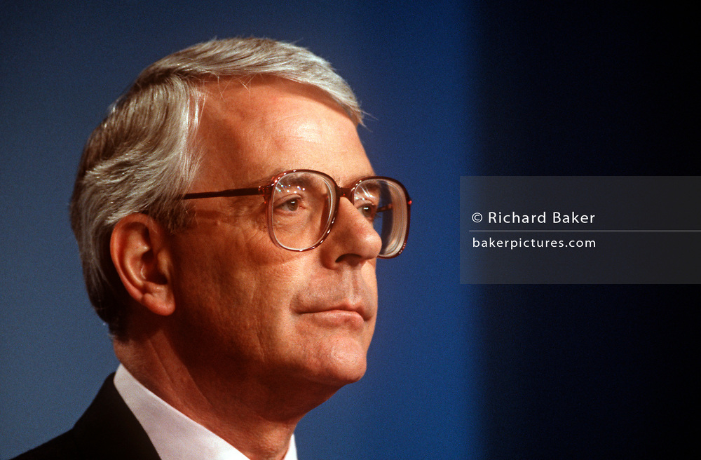 British Prime Minister, John Major launches his Conservative party election manifesto on 18th March 1992 in Brighton, England. Major went on to win the election in April that year and was the fourth consecutive victory for the Conservative Party although it was its last outright win until 2015 after Labour's 1997 win for Tony Blair. (Photo by Richard Baker / In Pictures via Getty Images)