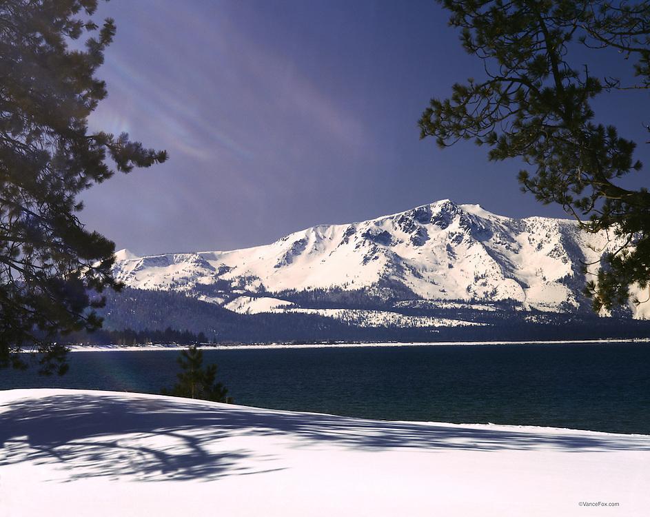 Lake Tahoe Landscape Winter Mountain Shoreline