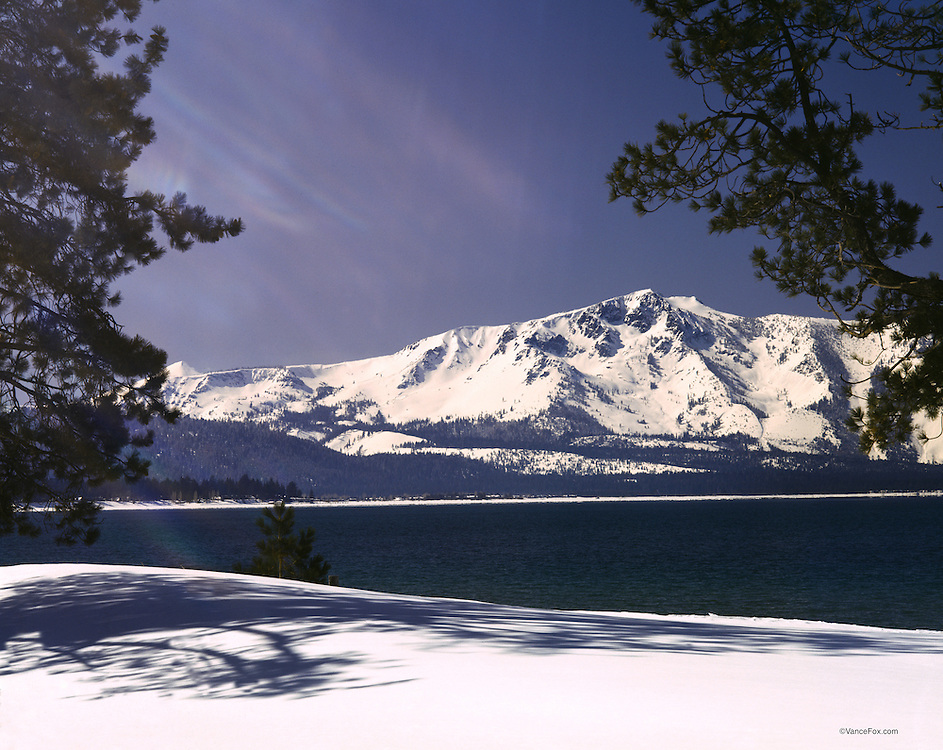 Lake Tahoe Landscape Winter Mountain Shoreline