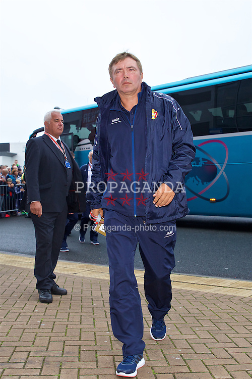 CARDIFF, WALES - Monday, September 5, 2016: Moldova's head coach Igor Dobrovolski arrives before the 2018 FIFA World Cup Qualifying Group D match against Wales at the Cardiff City Stadium. (Pic by David Rawcliffe/Propaganda)