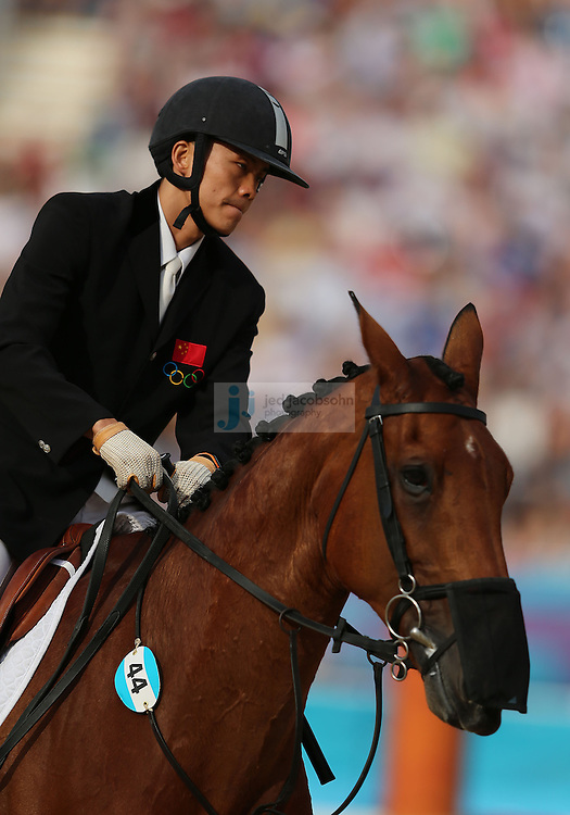 Zhongrong Cao of China competes during the riding portion of the men's modern pentathlon during day 15 of the London Olympic Games in London, England, United Kingdom on August 11, 2012..(Jed Jacobsohn/for The New York Times)..